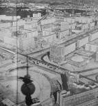 The view of East Berlin's Alexanderplatz and the Karl-Marx-Allee taken from the tower just prior to its opening in 1969. Photo from Neue Berliner Illustrierte, the GDR's version of Life magazine.