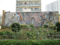 """Mural entitled """"Labour for the Happiness of People"""" created from a design by Walter Womacka that decorates a restaurant on the Marzahner Promenade (photo: Richard Harrison)"""