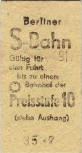Ticket for East Berlin S-Bahn, most likely from summer 1990.