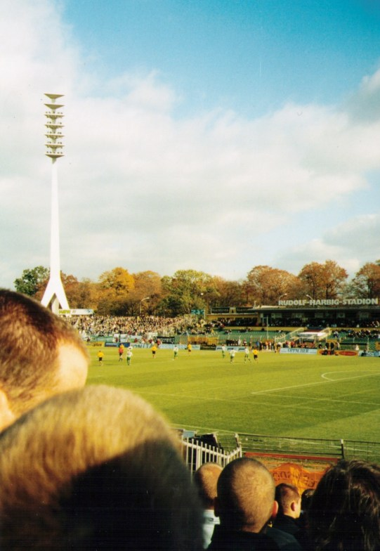 On the road with FCS: the famous giraffe lighting masts at Dresden's Rudolf Harbig Stadium, home to Dynamo (photo: author).