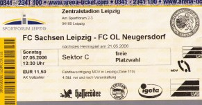 Ticket from the last FC Sachsen match I saw in person.