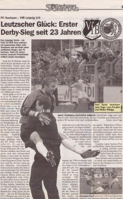 "Newspaper article reporting on FCS' ""historic"" derby win over VfB (from Sachsen Sonntag newspaper)."
