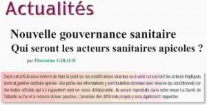 Nouvelle gouvernance sanitaire