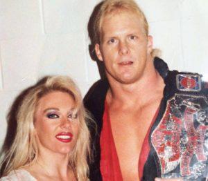 Jeanie Clarke with Steve Austin as TV Champion in WCW