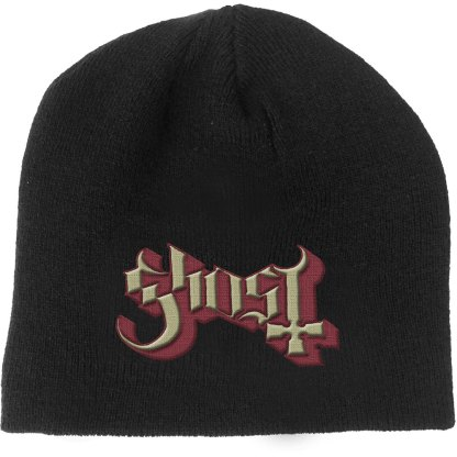Black Ghost Beanie with red and yellow embossed woven text logo