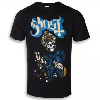 Ghost Papa Of The World T-Shirt - a giant Papa Emeritus III looms out of the darkness in blue robes with gold cuffs, with Nameless Ghouls falling from one of his hands. Both hands have golden pointed nails. The Ghost logo is off white with blue shading.