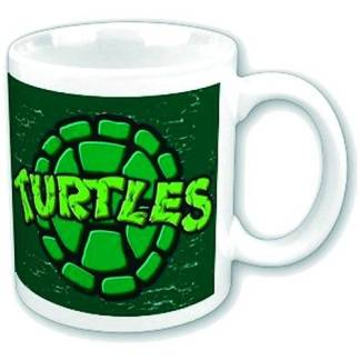 Teenage Mutant Ninja Turtles Shell Mug - a white mug with a dark green square. On the dark green square is a light green shell design with the word TURTLES in neon green