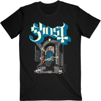 Ghost T-Shirt Incense - Papa Emeritus IV stands in an alleyway with a large brick archway behind him. At his feet are skulls with candles on them and there are symbols on the floor. Papa holds a thurible and smoke trails of incense swirl around him from it. The logo is white with a pale blue shadow.