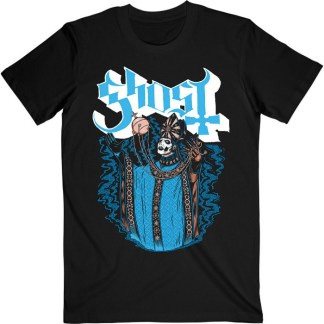 Ghost T-Shirt Levitation - Pale blue Ghost logo with white shadowing. Papa Emeritus IV in his blue and gold robes stands with his arms raised, levitating his thurible. To each side of him is blue smoke.