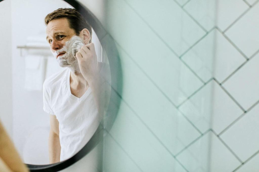 A man getting ready to shave.