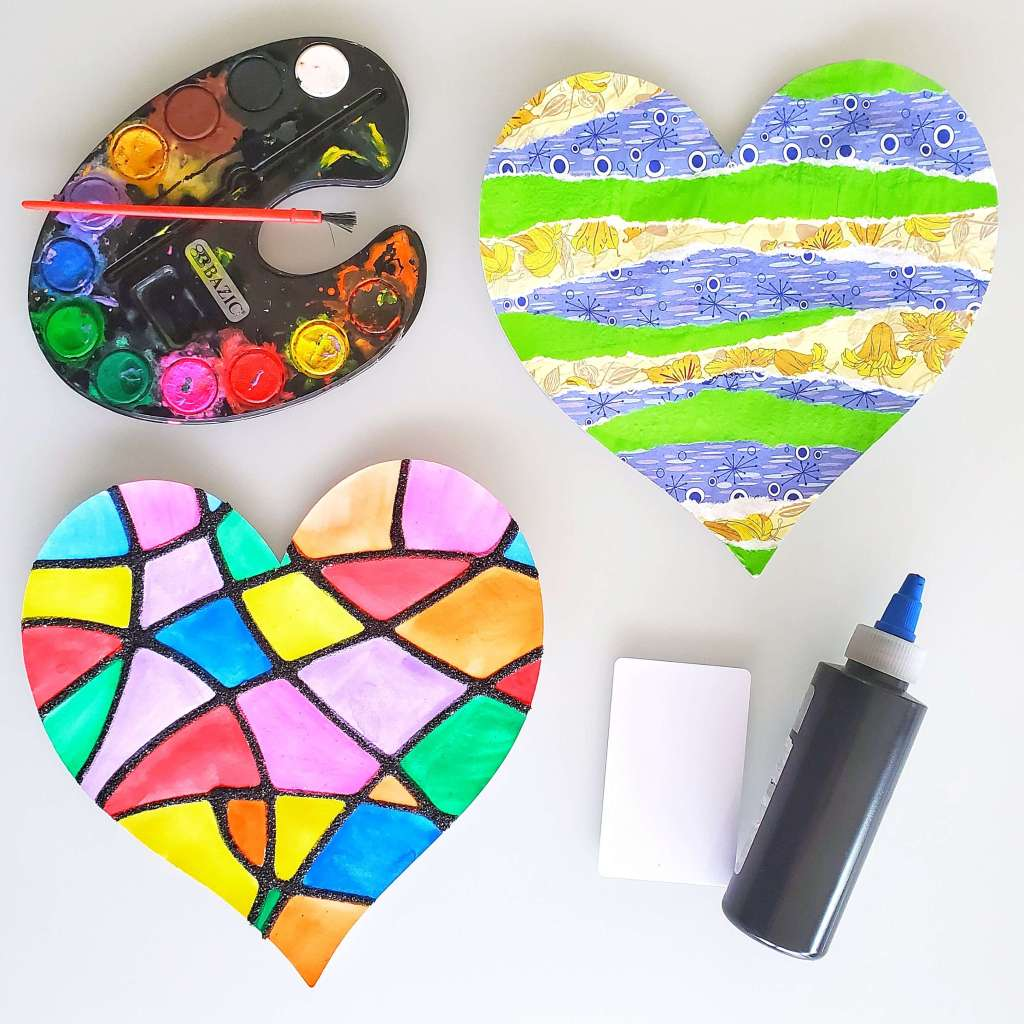 The projects in the Kids Art Box that included paper cut-out hearts.