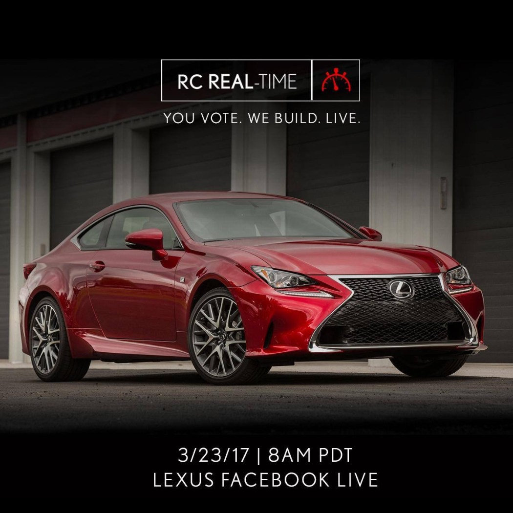 Lexus is Building an RC F Sport on Facebook Live Today 2