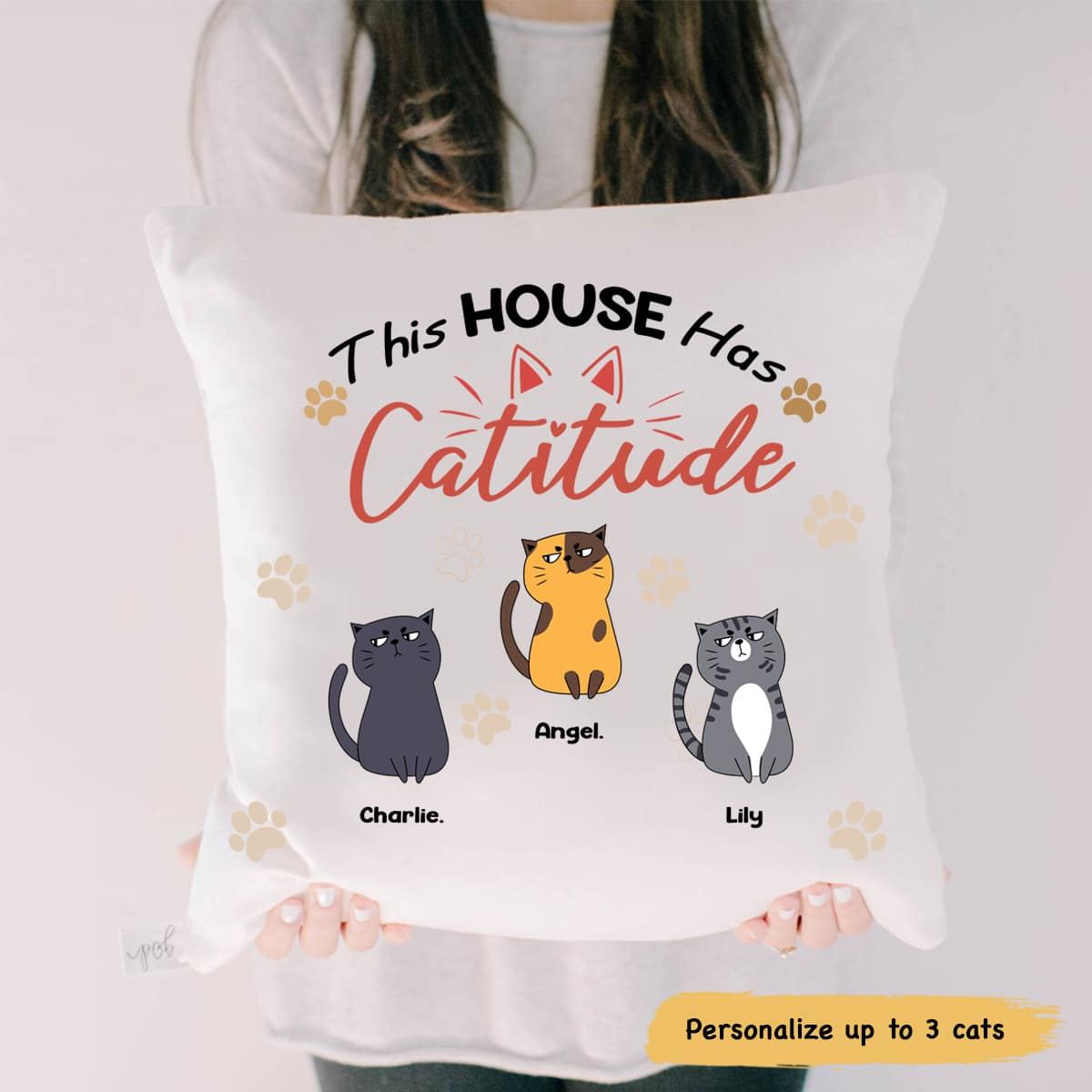 Personalized Cat This House Has Catitude Pillow Gearcustoms Com