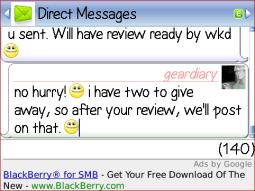 GearDiary IM+ Lite for BlackBerry Review