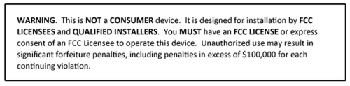 FCC Industrial Use label