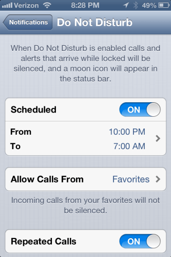 Settings for Do Not Disturb on iOS