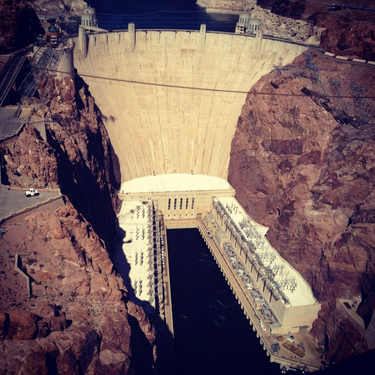 View of the Hoover Dam from the Mike O'Callaghan–Pat Tillman Memorial Bridge