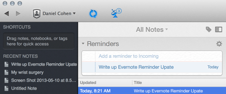 Reminder: Write Up Evernote Reminder Update for Mac, iPhone, iPad, and Web