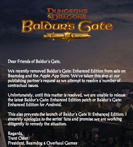 Beamdog Loses Rights to Publish Baldur's Gate as Legal Issues Proceed