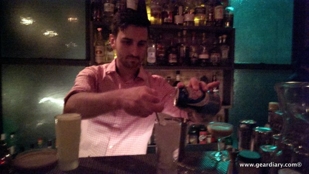 Notice that the HTC One did a decent job of capturing the bartender's flying hands without blurring.