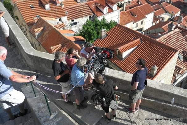 The camera crew filming a street scene