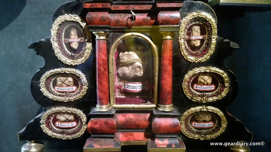 This reliquary houses bones from various saints