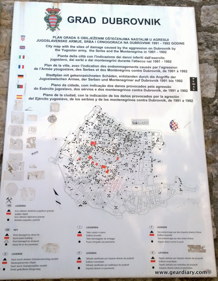 Portions of the city that were affected during the Siege of Dubrovnik