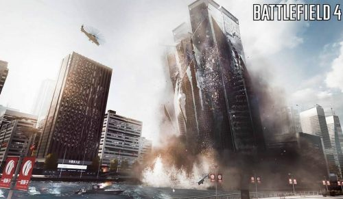 A Battlefield 4 screenshot, showing an entire building falling down, one of the neat new features in the new Frostbite engine.