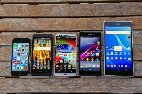 iPhone 5S, HTC One, LG G2, Xperia Z1, Xperia Z Ultra
