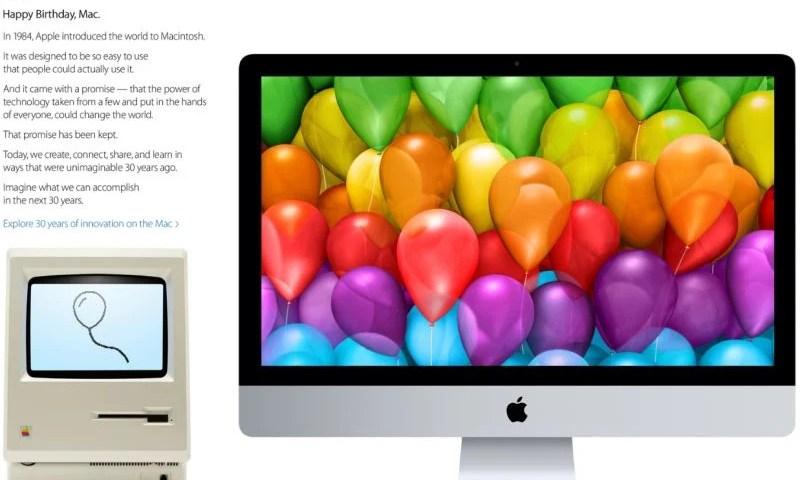 Apple Celebrates 30 Years Homepage