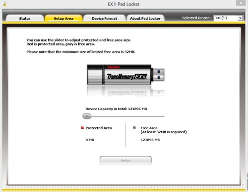 Toshiba Transmemory Pro USB Drive's Security Software