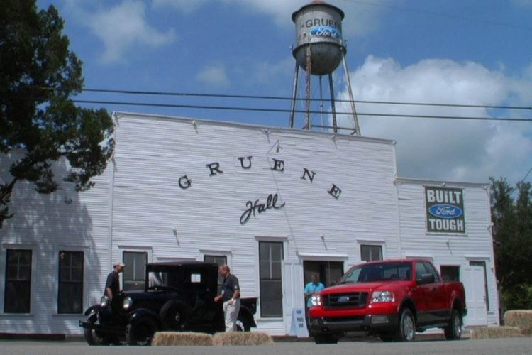 Ford took over the town of Gruene, Texas then and now, even painting its logo on the water tower in 2003
