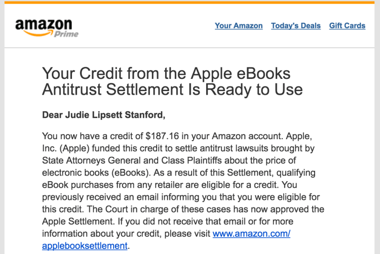 Amazon email about Apple eBook Antitrust Settlement