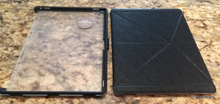 The back of the Symmetry Hybrid is about the size of the Moshi Versacover itself