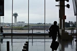 traveller leaving airport