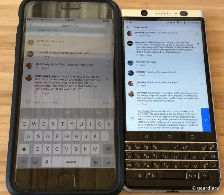 Blackberry keyone vs iphone 7 plus