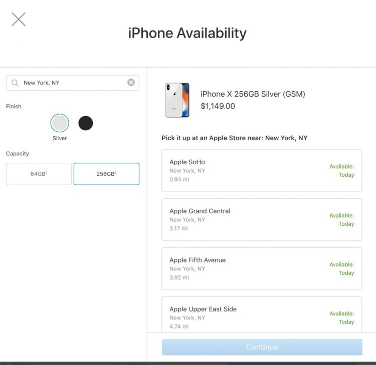 iPhone X Widely Available for Apple In-Store Pickup