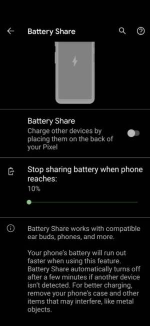 Google Pixel 5 Battery Share