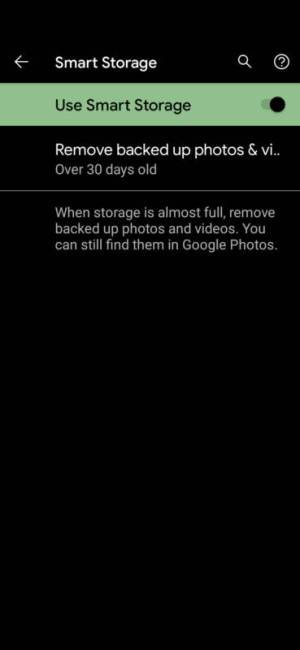 Google Pixel 5 Smart Storage