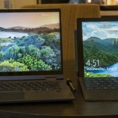 """Lenovo Flex 5 14"""" 2-in-1 on the left; Microsoft Surface on the right."""