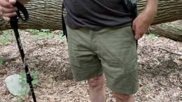 Wearing LIVSN Flex Canvas Shorts on a hike