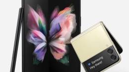 The Samsung Galaxy X Fold 3 opened with a Samsung Galaxy Z Flip3 next to it