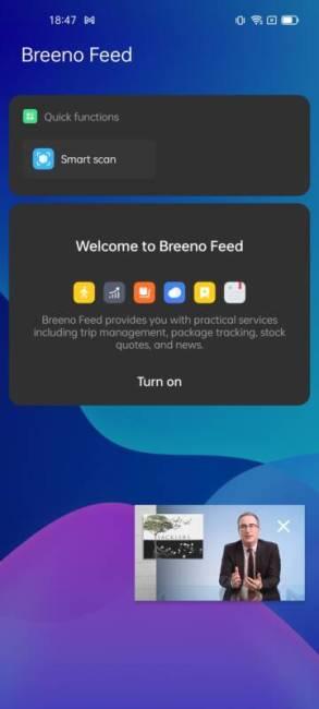 The breeno app when you swipe right on the launcher