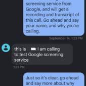 Transcript of a screened call using Call Screen.