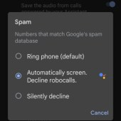 Setting Spamd and Call Screen options in the Google Phone app on a Google Pixel 5a.