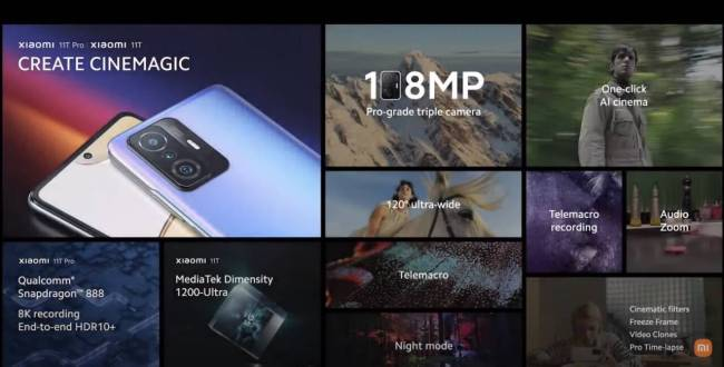 Xiaomi 11T and 11T Pro features