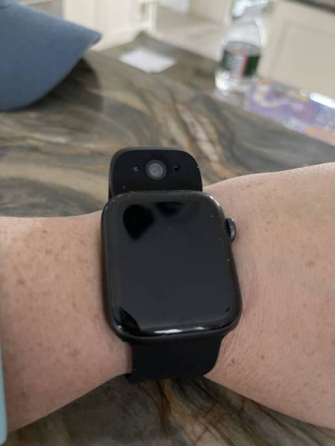 The Wristcam for Apple Watch on wrist.