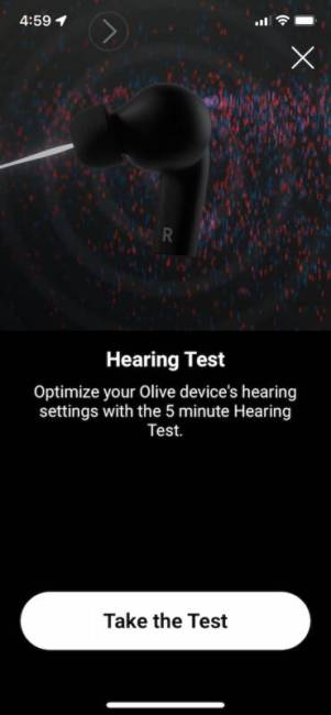Olive Pro Audio Enhancing Earbuds hearing test in the app.
