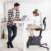 Man stands at desk while child sits on the Flexispot Sit2Go 2-in-1 Fitness Chair.
