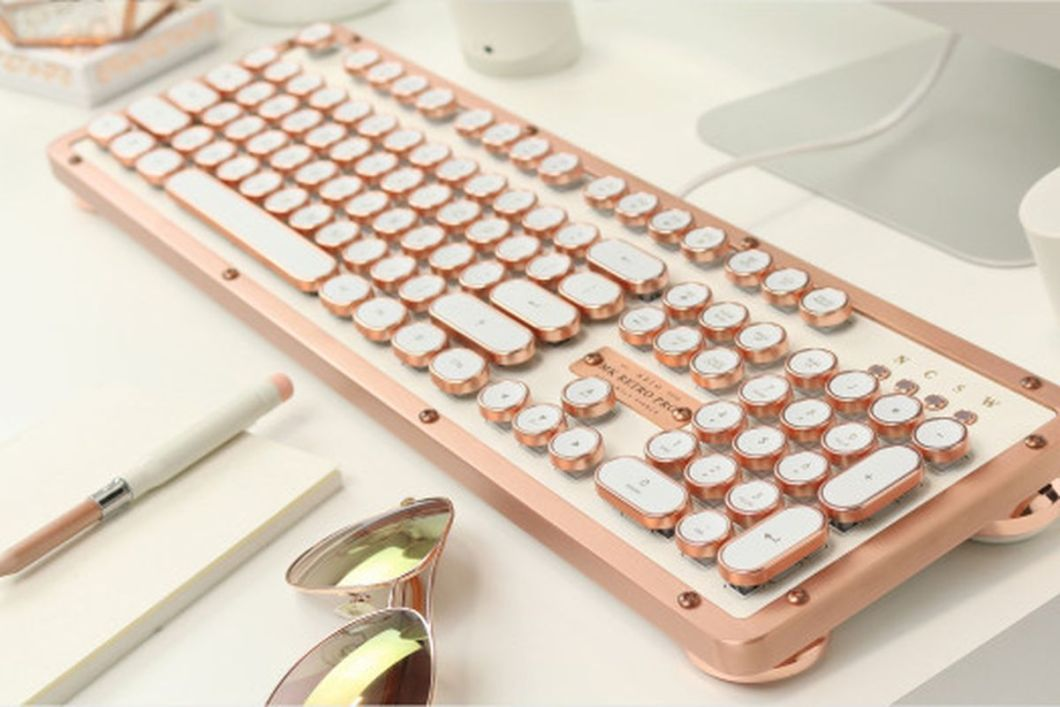 Azio Retro Classic Keyboard: Typewriter Backlit Mechanical Keyboard